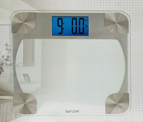 TAYLOR Digital Glass Bathroom Weight Scale with Batteries